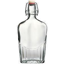 Bottle Glass Wire-clasp Pocket Flask Embossed 0.5l / 17oz