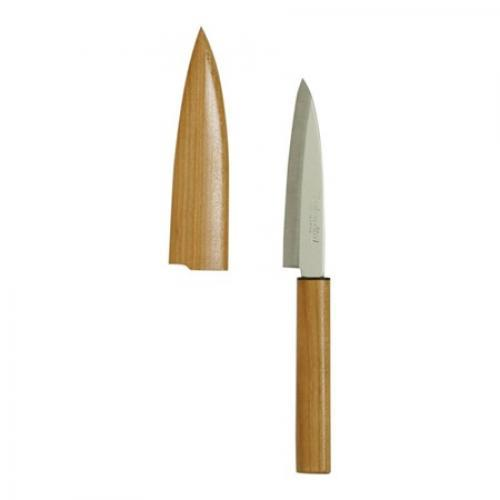 "Kitchen Knife Wood Handle Paring With Sheath 3.75"" Blade"