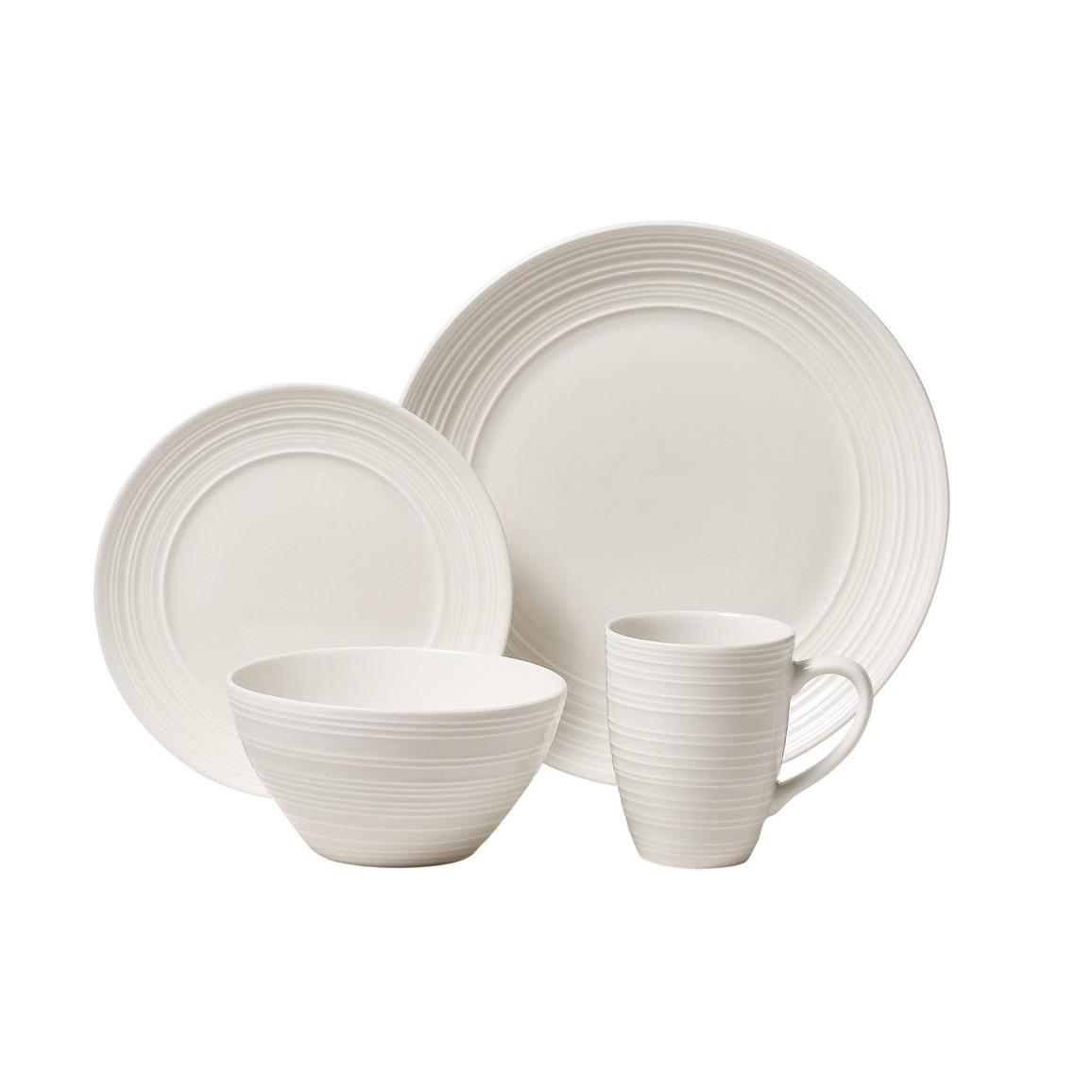 Dinnerware Set Ripple White 16 Piece Set (DP 6.99,SP 2.99 BW 4.99, MG 1.99)