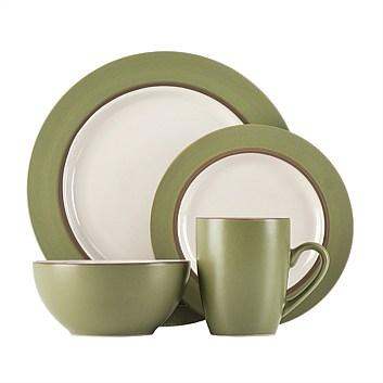 Dinnerware Set Kensington Two-tone Green-cedar 16 Piece Set (DP 7.99, SP 3.99, BW 5.99, MG 1.99)