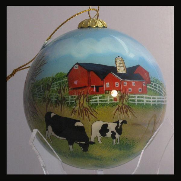 Ornament - Vermont - Cow And Barn