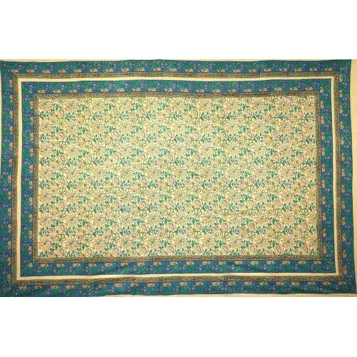 Tapestry Twin Size Cream Ground Tan Flowers Blue Vine