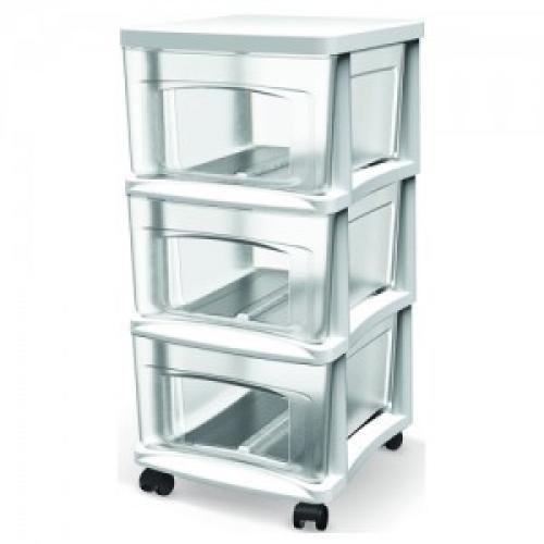 Storage Cart 3 Drawer Locking Bella 14.5 x 12.5 x 24.5 Inches High White