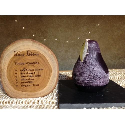 Pear Candle Pillar 3inx4in - Dark Plum