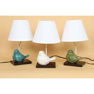 Lamp Crackled Ceramic Bird 3 Asst. Colors
