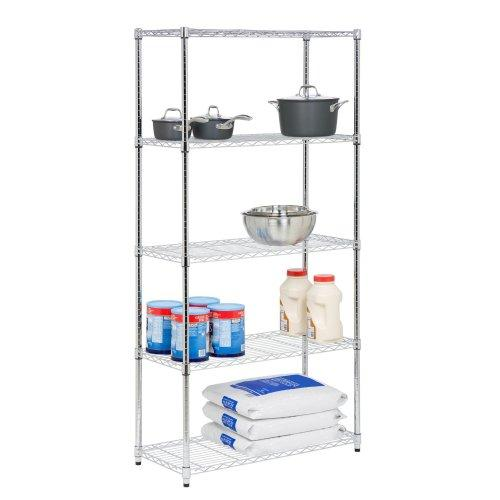 Shelving - 5 Tier Chrome Storage Shelves 350lbs Capacity