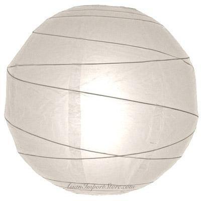 Paper Lantern 12in Irregular Ribbed White