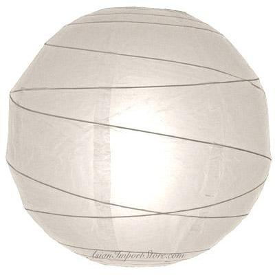 Paper Lantern 16in Irregular Ribbed White