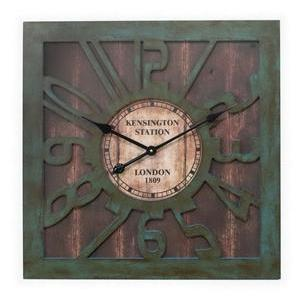 Wood Wall Clock Square Frame-green