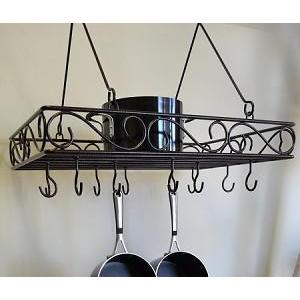 Pot Rack Hanging Swirl With 12 Loose Hooks