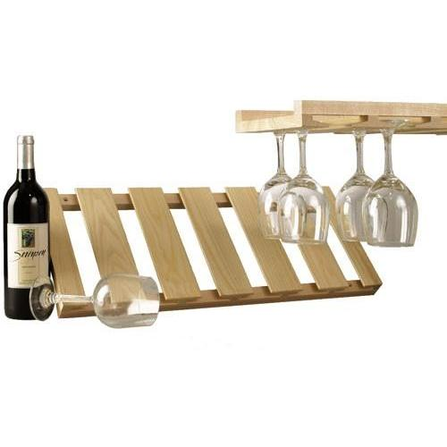 Wine Glass Holder Rack Wood Ceiling Mounted