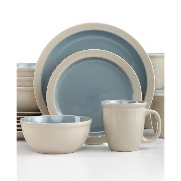 Dinnerware Set Mali Stone Blue 16 Piece Set (DP 6.99, SP 4.99, BW 5.99, MG 1.99)