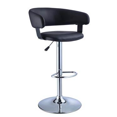 Barrel Bar Stool Black Faux Leather