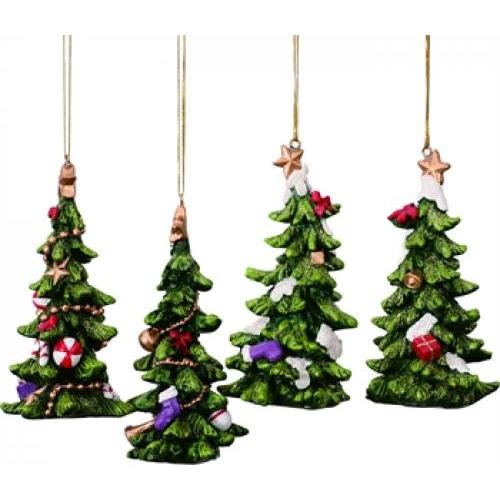 Ornament - Holiday Resin Tree Asst