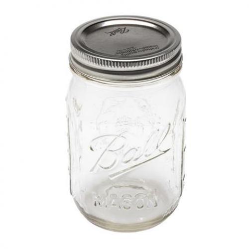 Jar Glass Screw Top Lid Ball Mason 1/2 Pint Case of 12 Jars