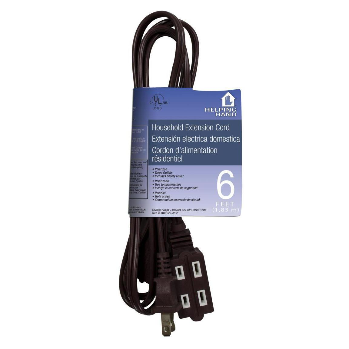 Electrical - 6ft Extension Cord - Brown