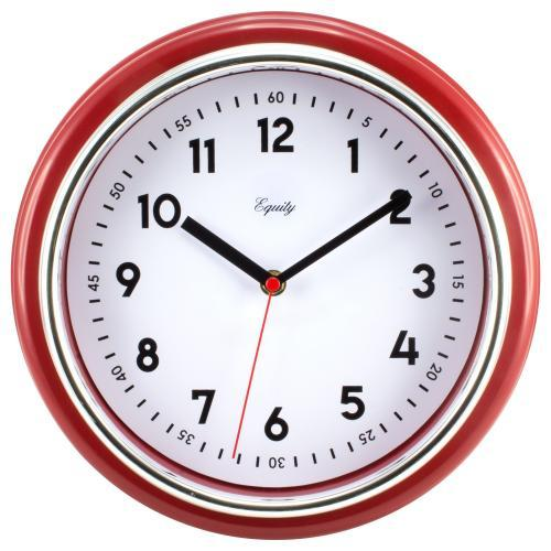 Wall Clock Analog 11.5� Face-white Frame-red Retro Chrome Accent Silence