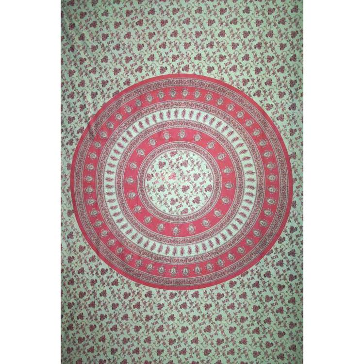 Tapestry Single Size Circle Vine Red