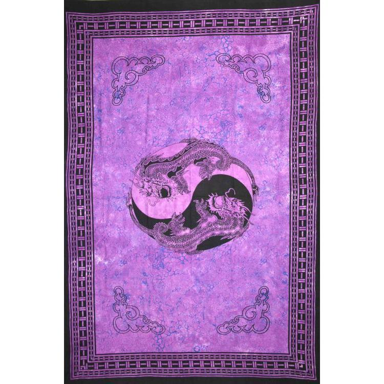 Tapestry Single Size Ying Yang Dragon Purple