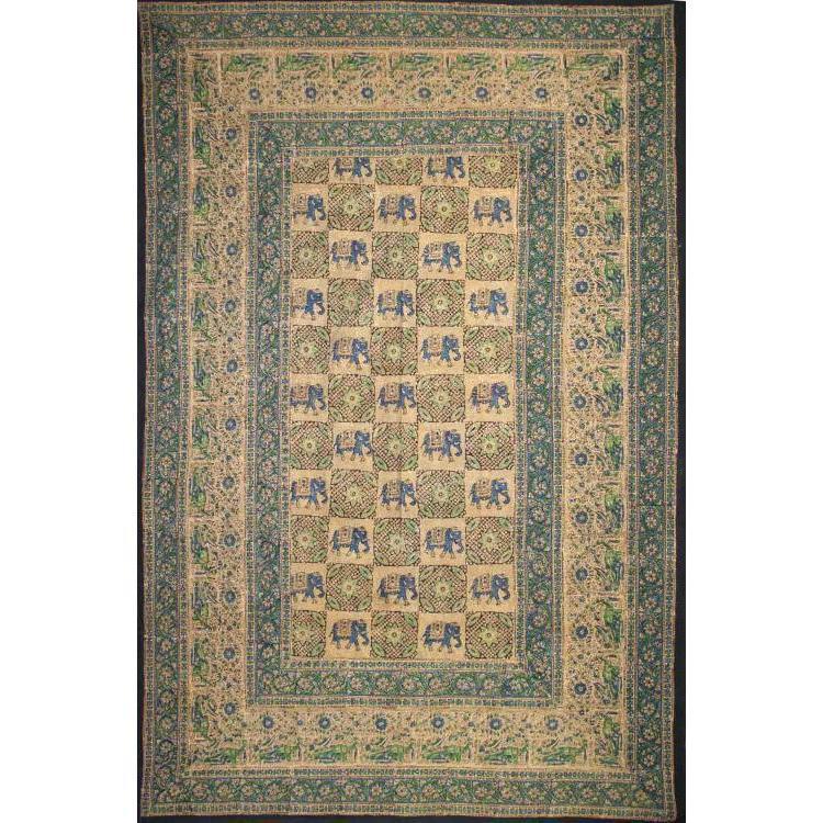Tapestry Single Size Elephant Batik Green