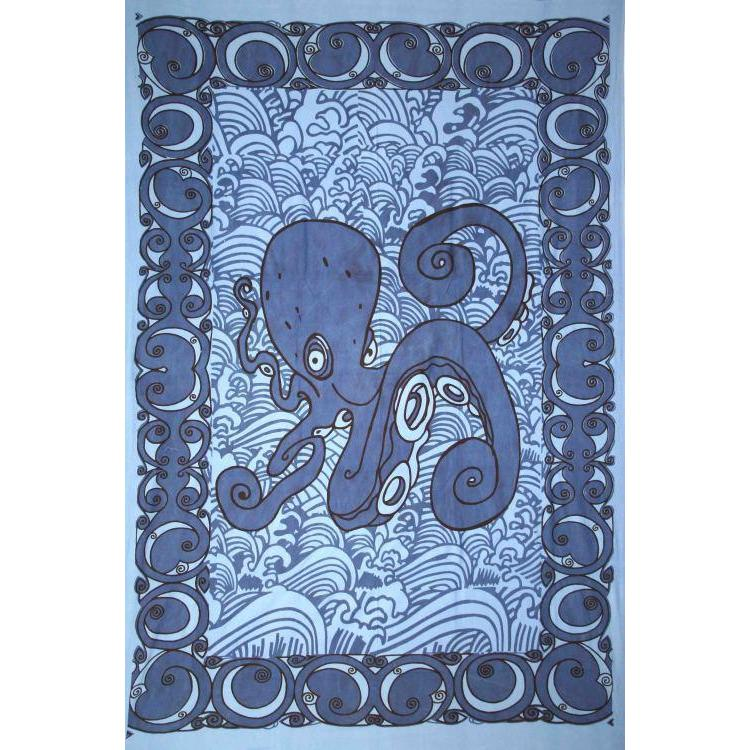 Tapestry Single Size Octopus  Blue