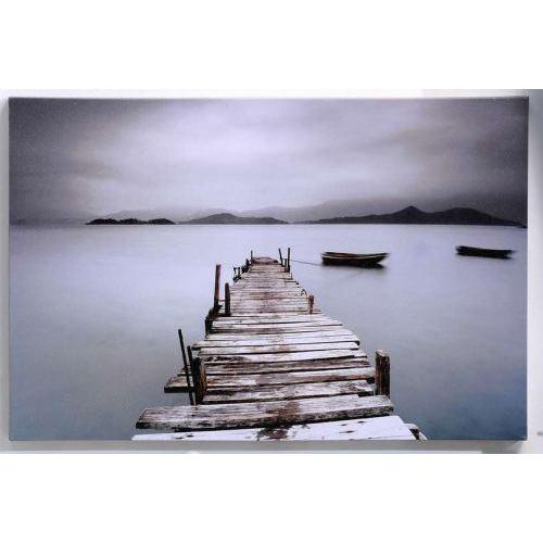 Canvas Print Foggy Dock Overlooking Mountains