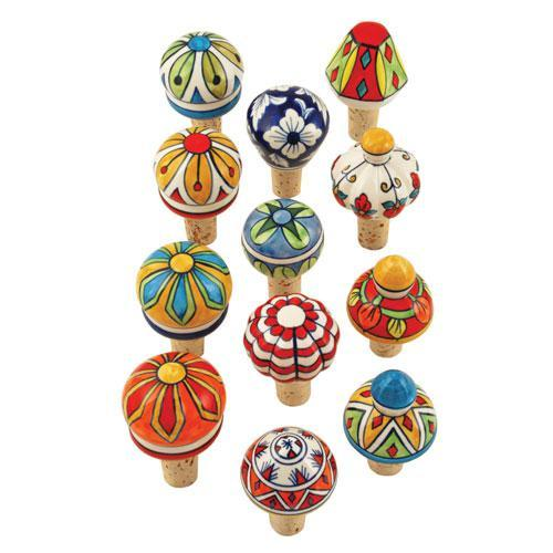 Wine Bottle Stopper Ceramic Assorted Styles Country Home (twine)