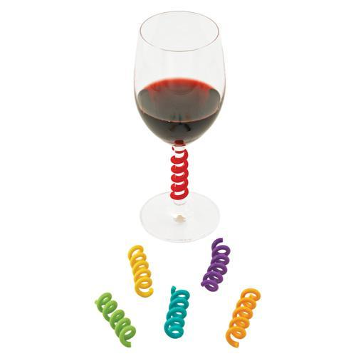 Party Accessory Wine Glass Charm Markers Set Springs Multicolored Pack Of 6