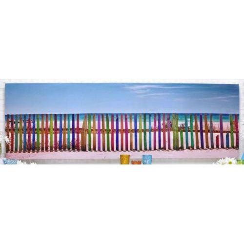 Canvas Print Long Colored Picket Fence On The Beach (discontinued)