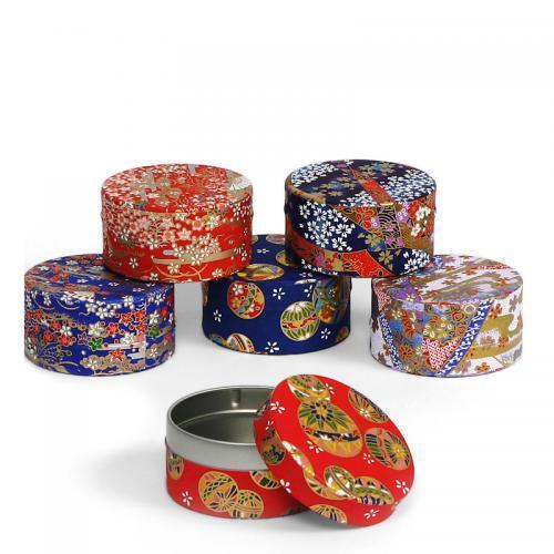 Tea Storage Cannister Washi Designs 3� Dia