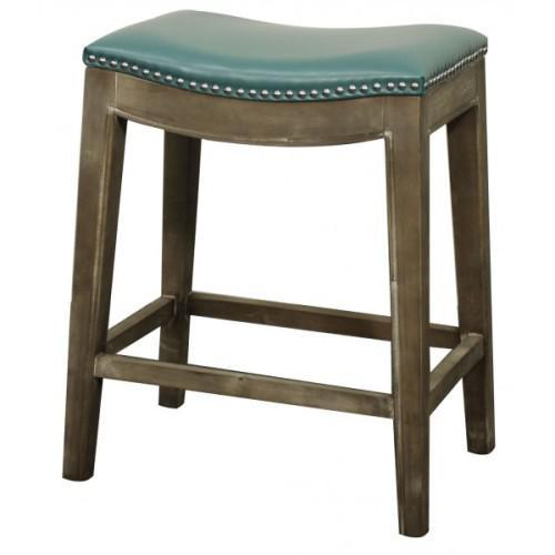 Elmo Counterstool 25in Mystique Gray Frame Bonded Leather Seat Turquoise