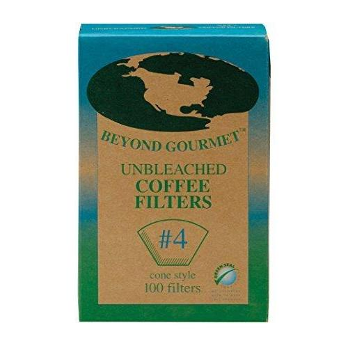 Coffee Filters Paper Unbleached Conical #4 Box Of 100