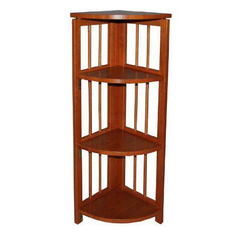 Bookcase Folding 4 Tier Corner Bookcase Honey Oat