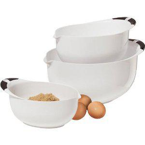 Mixing Bowl Set Oval 3 Sizes White