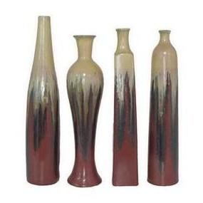 Vase Ceramic 4 Asst  Red Ecru Drip Sold Each