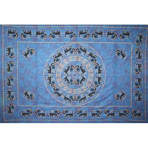 Tapestry Single Size Fancy Elephant Blue