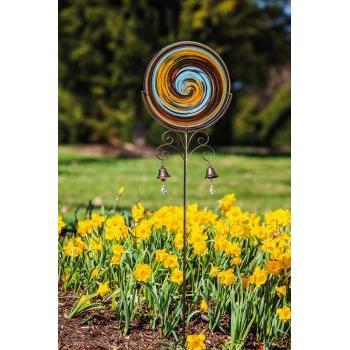 Outdoor Decorative Stake Glass Disk Artfulgarden Hand Blown Swirls Glass Brown & Blue