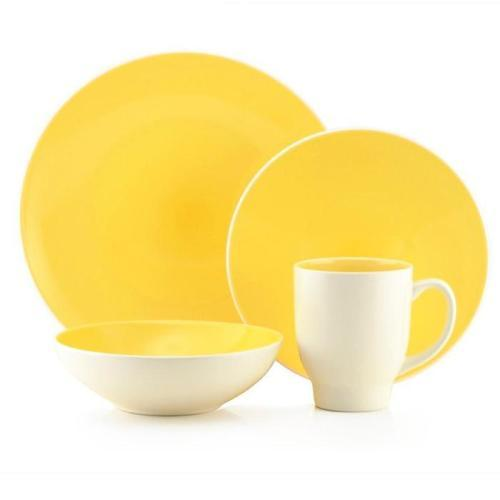Dinnerware Set Ovi Yellow-lemon 16 Piece Set (DP 5.99,SP 3.99 BW 4.99, MG 1.99)