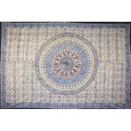 Tapestry Twin Size Kalamkari Circle Blue / Red
