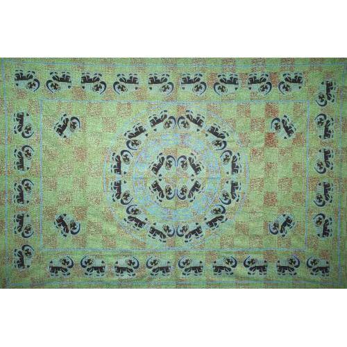 Tapestry Single Size Fancy Elephant Green