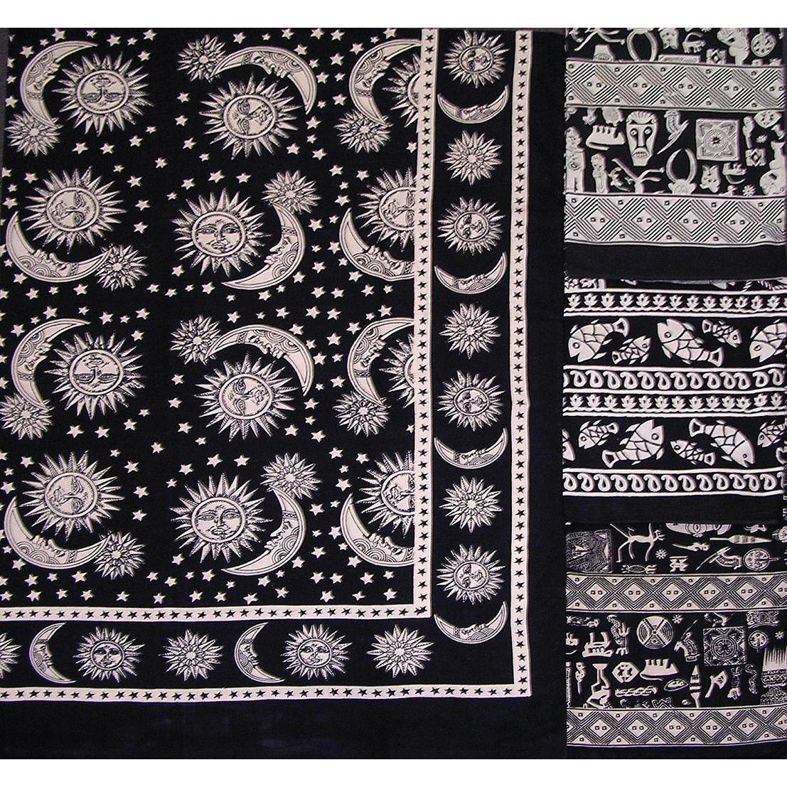 Tapestry Twin Size Black And White Sun And Stars Design