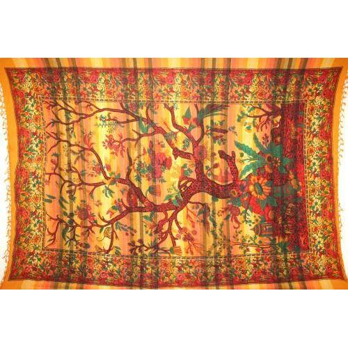 Tapestry Twin Size Overprint Tree Of Life Yellow