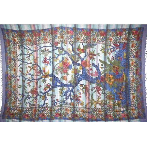 Tapestry Twin Size Overprint Tree Of Life Blue
