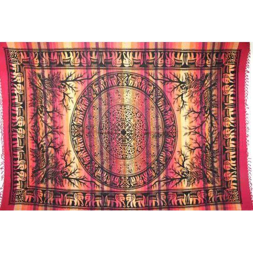 Tapestry Twin Size Overprint Stp Elephant Red