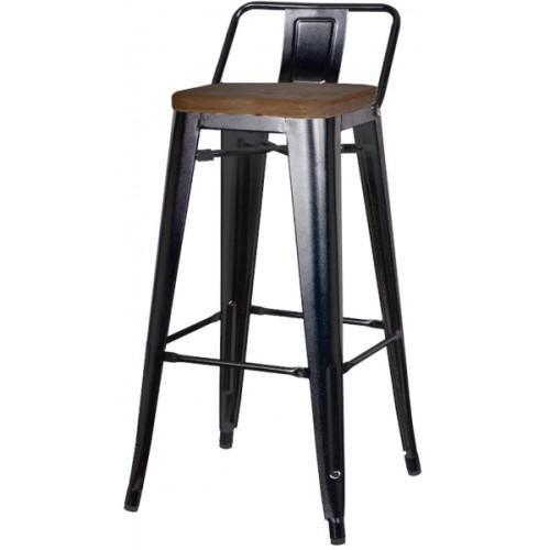 Metropolis Wood Seat Low Back Counter Stool 26in Black