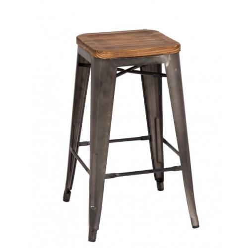 Metropolis Wood Seat Backless Counter Stool 26in Gunmetal