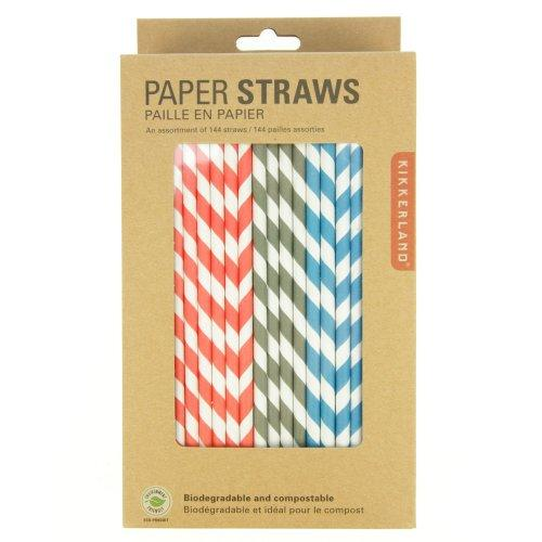 Drinking Straw Paper Stripe Assortment Box Of 144