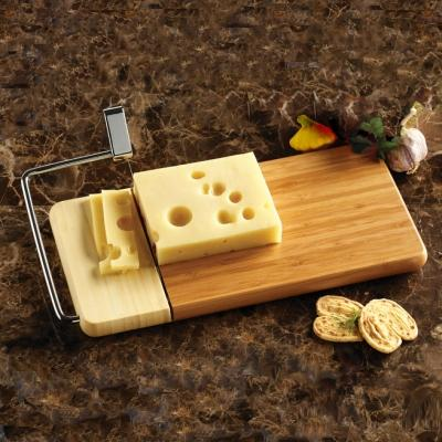 Serving Cheese Slicer Standing Wire Wood Base-bamboo