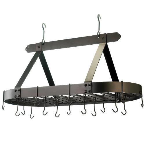 Pot Rack Hanging With Grid Oval Graphite
