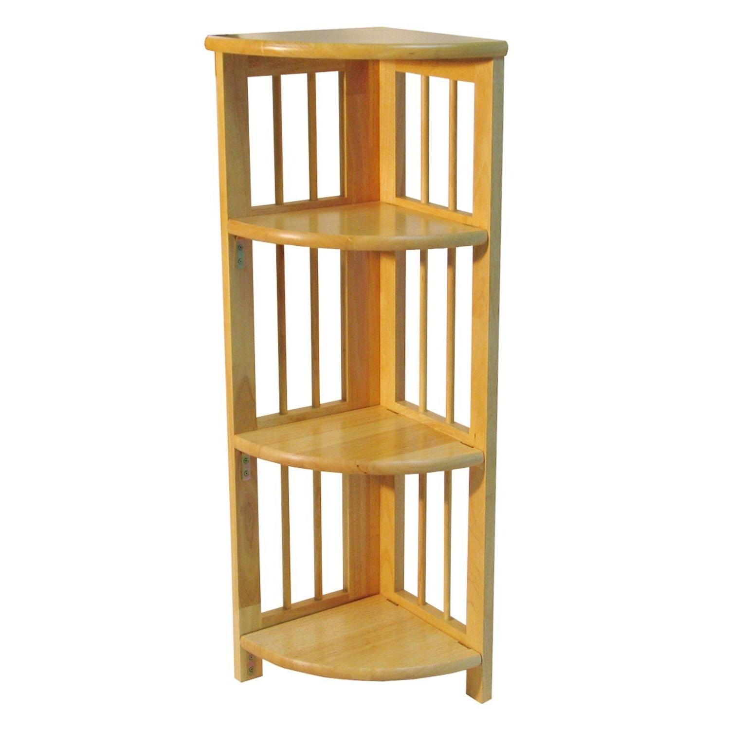 Bookcase Folding 4 Tier Corner Natural